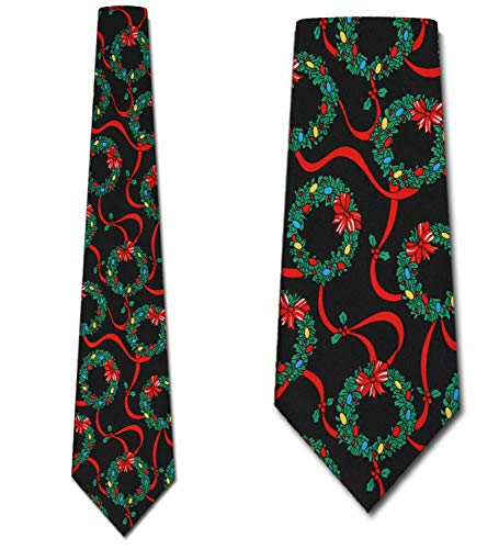 Christmas Wreath Neck Ties Mens Holiday Necktie