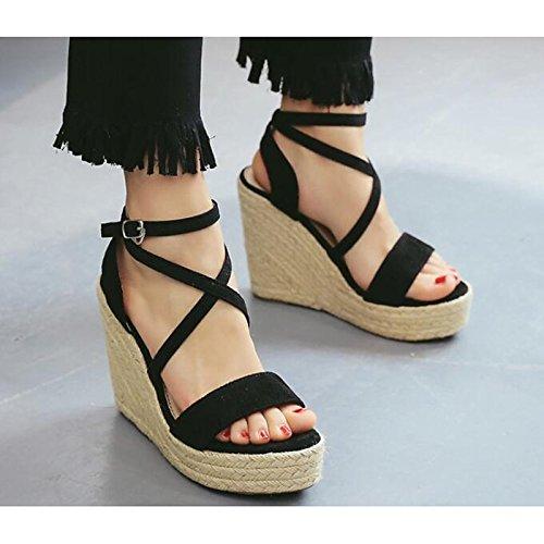 Femmes Confort Été Printemps Brown Brun Talon US8 Black Chaussures ZHZNVX UK6 EU39 pour CN39 Sandales PU Casual qwSHIH5x0