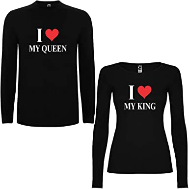 Pack de 2 Camisetas Negras Manga Larga para Parejas I Love My King ...