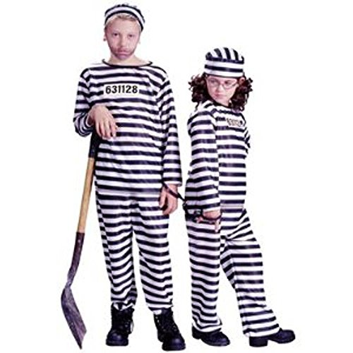 Kids Jailbird Inmate Convict Small Halloween Costume (Jailhouse Jumpsuit Costumes)