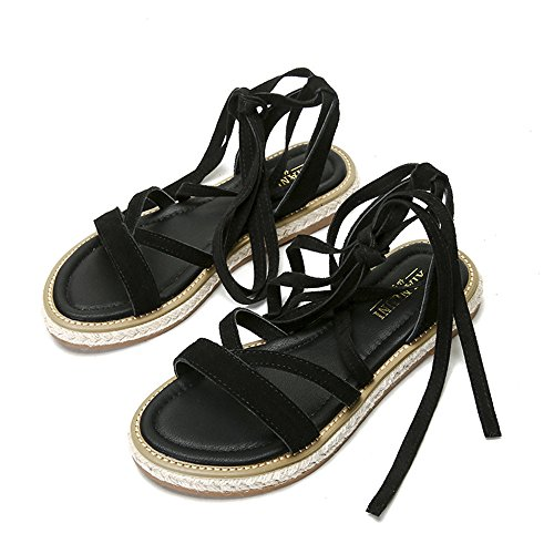 for Sandals Women up Suede Leather Lace Y Gladiator X Flat Shoes Black M Strappy 8wtIxXq8P