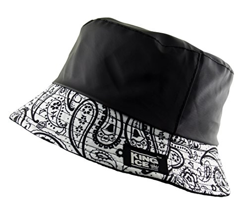 UD Accessories BUCKET BUSH HAT BANDANA PAISLEY FLEECE LINED WATER RESISTANT (Black and White) -