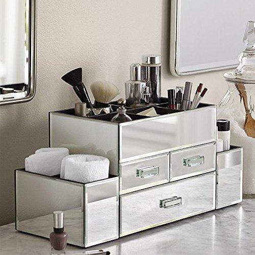 OnDisplay Amara 3 Drawer Tiered Silver Mirrored Makeup/Jewelry ()