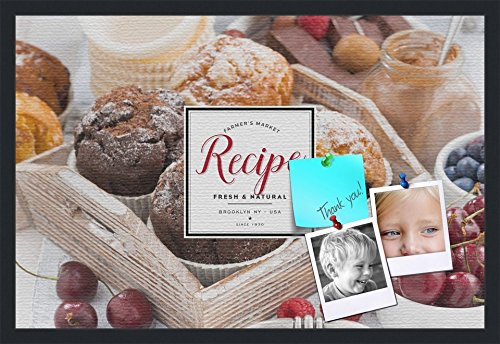 PinPix decorative pin cork bulletin board made from canvas, Recipe Board with Baked Goods 30x20 Inches (Completed Size) and framed in Satin Black (PinPix-Group-36) by PinPix