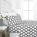 Egyptian Luxury 1800 Hotel Collection Quatrefoil Pattern Bed Sheet Set - Deep Pockets, Wrinkle and Fade Resistant, Hypoallergenic Printed Sheet and Pillow Case Set - King - White