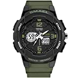 SMAEL Military Watch Fashion Wristwatches LED Quartz Watch 50M Waterproof For Top Brand Luxury Clock Digital Men Sports Watches 1645 Series (Army Green)