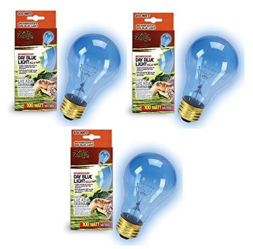 (Zilla Incandescent Bulb, Day Blue Light and Heat, 100 Watt (3 Pack))