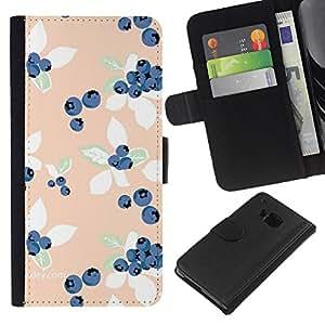 [Neutron-Star] Modelo colorido cuero de la carpeta del tirón del caso cubierta piel Holster Funda protecció Para HTC One M7 [Peach azul Vignette Wallpaper]