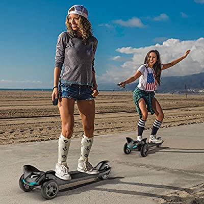 GoPower Boosted Electric Skateboard Eskatesnake – Bluetooth Speaker System - Solid Rubber Tires - 12 Miles Long-Range Battery, Up to 15.5MPH – Digital LCD Screen Speedometer- - LED Headlight - UL2272 : Sports & Outdoors