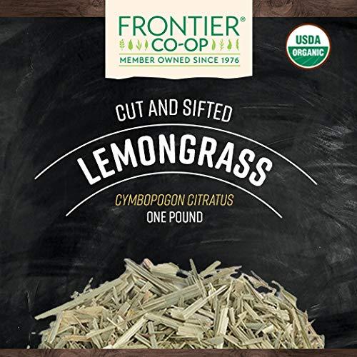Frontier Co-op Lemongrass, Cut & Sifted, Certified Organic, Kosher, Non-irradiated | 1 lb. Bulk Bag | Cymbopogon citratus