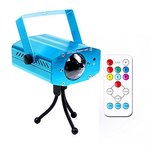 KOOT DJ Party Lights, 7 Colors Water Wave Light Projector Sound Activated Stage Light Water Effect or Flame Party Light for Halloween Christmas Party Karaoke KTV Club (Blue)