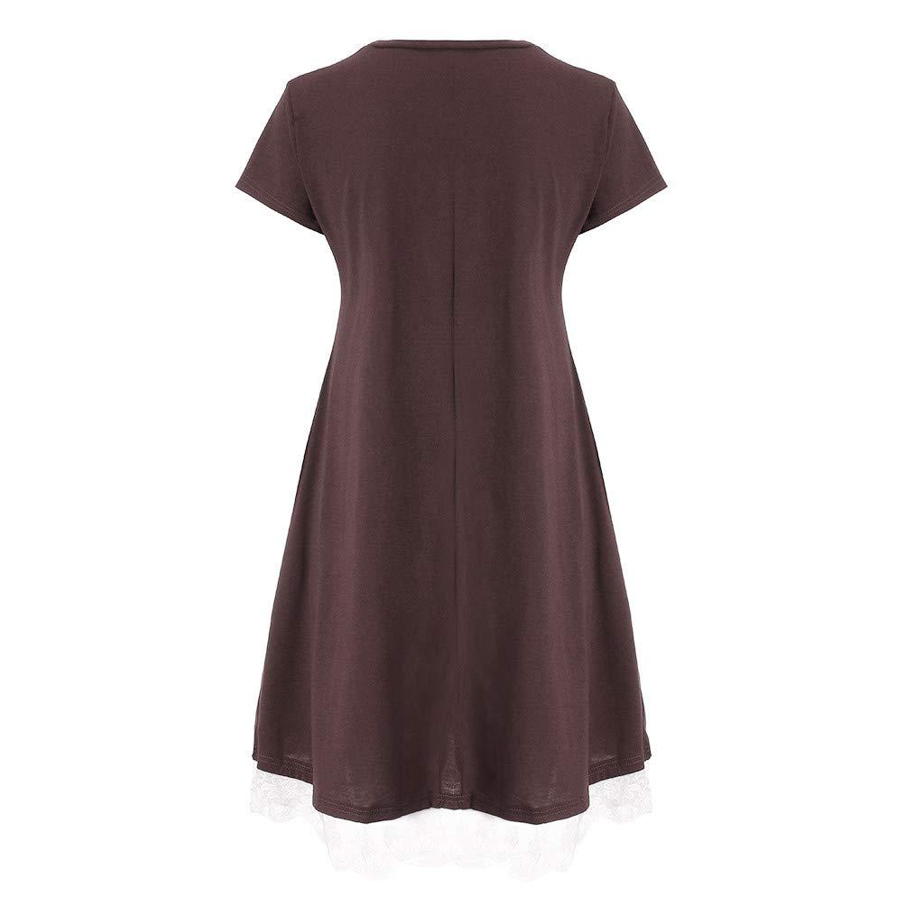 HTDBKDBK Womens Summer Casual Solid O-Neck Pocket Lace Short Sleeve Mini Dress Loose Party Dress Beach Dress