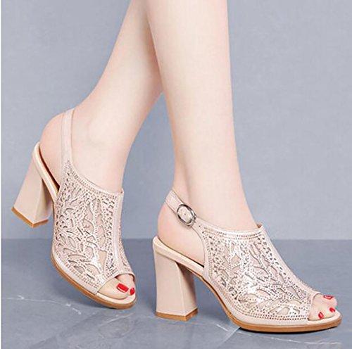 FAFZ Sandalias sandalias de pescado sandalias de las señoras zapatos de verano zapatos de tacón romano salvaje coreano Sandalias planas,Sandalias de moda (Color : B, Tamaño : 40) B