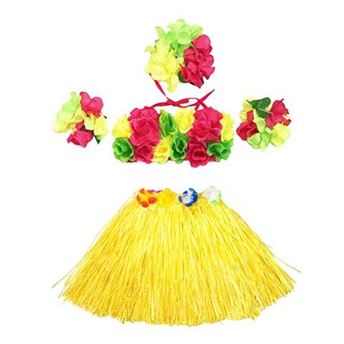 5Pcs Hawaii Tropical Hula Grass Dance Skirt Flower Bracelets Headband Bra Set 40cm (Yellow Skirt) by LUOEM (Image #9)
