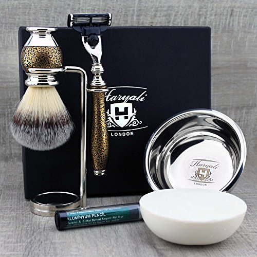 - Antique Look 5Pc Men's Shaving Set |Synthetic Brush, Gillette Mach3, Chrome Plated Dual Stand, Engraved Bowl & Soap