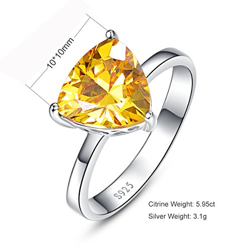 BONLAVIE Women's 5.95ct 925 Sterling Silver Triangle Shaped Created Yellow Citrine Birthstone Engagement Ring