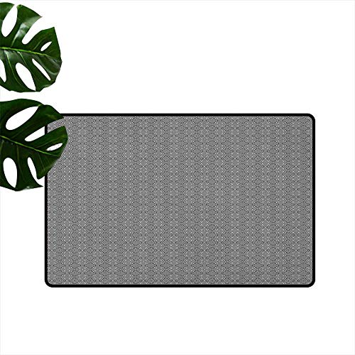 "LilyDecorH Abstract,Kitchen Floor mats Minimalist Inspirations Grid Style Interlace Striped Geometric Contemporary Art 24""x35"",Weather mats"