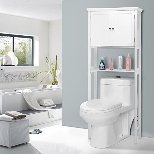 Giantex Over-the-Toilet Bathroom Storage Space Saver with Shelf Collect Cabinet, White (2 Door w/Open Rack) by Giantex