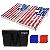 GoSports CornHole Bean Bag Toss Game Set - Superior Aluminum Frame (American Flag, Football and Black designs)