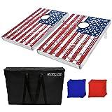 GoSports American Flag CornHole Bean Bag Toss Game Set (8 Bags per Pack), 3 x 2-Feet