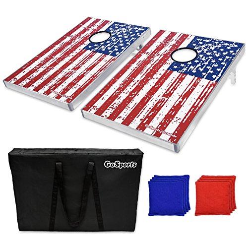 GoSports American Flag CornHole Bean Bag Toss Game Set (8 Bags per Pack), 3 x 2-Feet (Bag American Flag)
