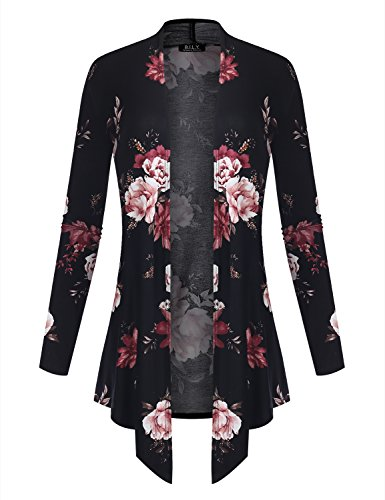 Floral Long Sleeve Cardigan (BILY Women's Open Front Drape Hem Lightweight Cardigan Floral Print 161027 Black XXX-Large)