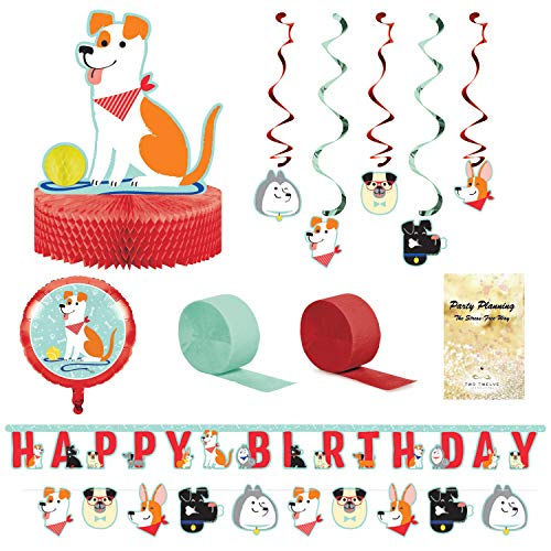 Dog Party Decorations, Puppy Birthday, Adoption Day, Dog Lover, 7 Pieces, Centerpiece, Banners, Dizzy Danglers, Balloon and Streamers