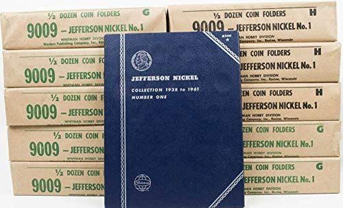 No 9009 1938-1961 JEFFERSON NICKELS WHITMAN TRI-FOLD 65 COIN ALBUM FOLDER SET #9