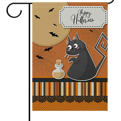 Wamika Halloween House Flag 28 x 40 Double Sided, Black Cat Bats Spider Web Halloween Greeting Funny Scary Welcome Autumn Fall Holiday Outdoor Yard Garden Flags Banner for Party Home Decor]()