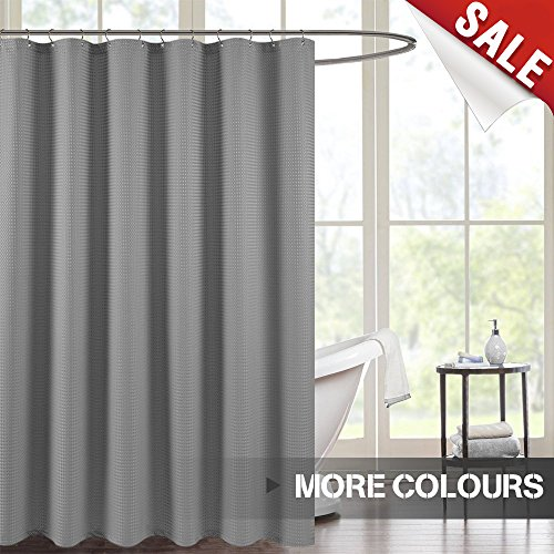 5151CgpJ9OL - jinchan Waterproof Fabric Shower Curtain for Bathroom, Antibacterial Waffle Woven Fabric Metal Grommets Top, 70 by 72 inches, Grey