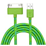 Cbus Wireless Rasta Braided USB Data & Charger Cable (10 Feet / 3 Meter) for Apple iPhone 4S / 4 / 3G / 3GS / iPhone, iPod Touch 4 / 3rd / 2nd gen, iPad 1, 2, 3