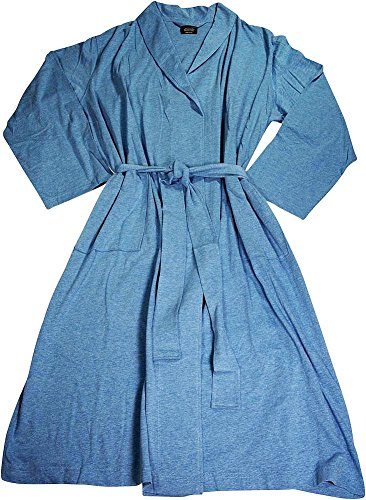 Van Heusen - Mens Jersey Knit Shawl Collar One Size Fits Most Bathrobe, Denim Blue 39617-onesize - Jersey Knit Bath Robe