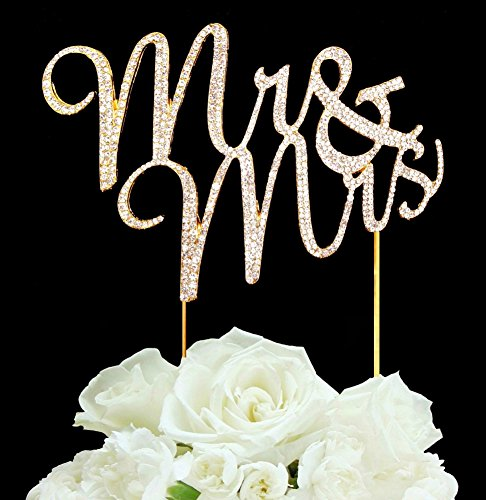 Goldtone Rhinestone Mr & Mrs Wedding Cake Topper by Generic