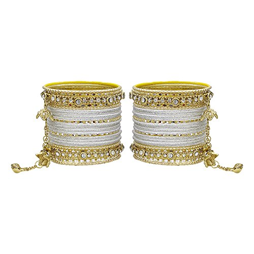 MUCH-MORE Gorgeous Collection Fashion Made of Latkan Bangles for Women & Girls (Silver-Gold, 2.4)