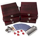 Set of 6 - Groomsmen Gifts, Personalized Flask Gift Set|Rosewood Finish Gift Box, Flask, Dice, Playing Card Deck + Funnel Set -7