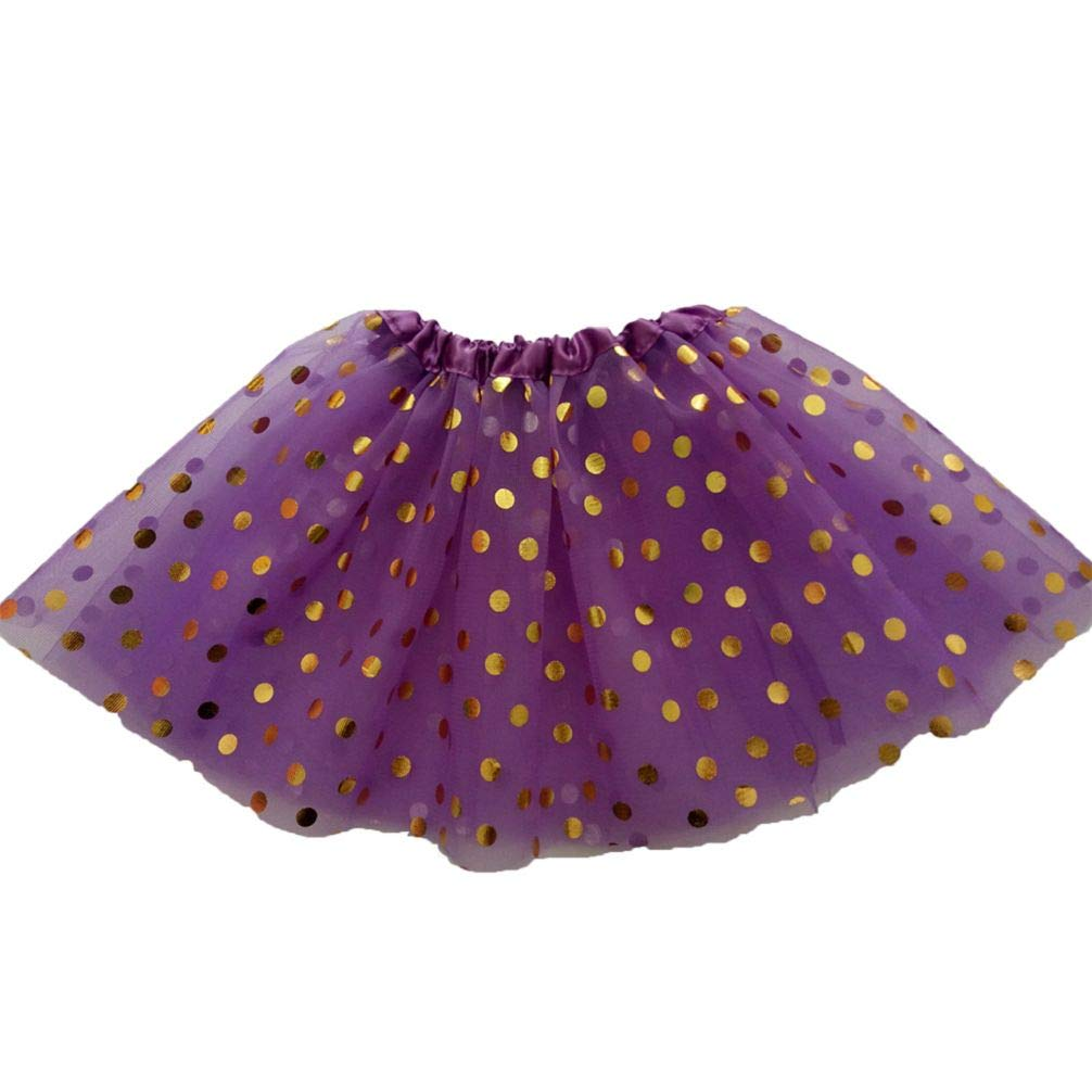 Meiyuan Kids Girls Dot Printed Gauze Dance Performance Pettiskirt Princess Tutu Skirt