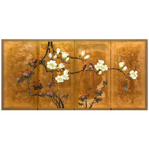 ORIENTAL Furniture Love Birds on Traditional Gold Leaf (Oriental Furniture Gold Leaf)