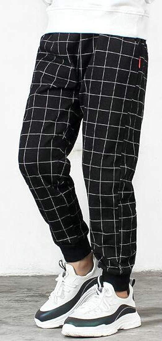 Pandapang Boys Jeans Girl Elastic Waist Plaid Denim Knitwear Pants