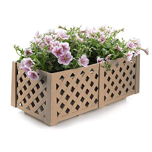 T4U Resin Window Planter Box Wood Brown, Rectangle Pot Container Grille Style Patio Balcony Porch Yard Garden Home Decoration for Vegetables Fruits Succulent Potato Herb Flower Gift