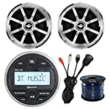 JBL PRV-175 Gauge Style Marine Boat Bike Digital Media Bluetooth Receiver Bundle Combo W/ 2x Jensen MSX60CPR 6.5'' Inch 2-Way Speakers + Enrock USB/AUX To RCA Interface Mount Cable + 50Ft Speaker Wire