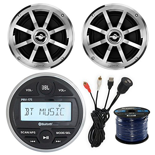JBL PRV-175 Gauge Style Marine Boat Bike Digital Media Bluetooth Receiver Bundle Combo W/ 2x Jensen MSX60CPR 6.5'' Inch 2-Way Speakers + Enrock USB/AUX To RCA Interface Mount Cable + 50Ft Speaker Wire by EnrockMarineBundle