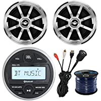 JBL PRV-175 Gauge Style Marine Boat Bike Digital Media Bluetooth Receiver Bundle Combo W/ 2x Jensen MSX60CPR 6.5 Inch 2-Way Speakers + Enrock USB/AUX To RCA Interface Mount Cable + 50Ft Speaker Wire