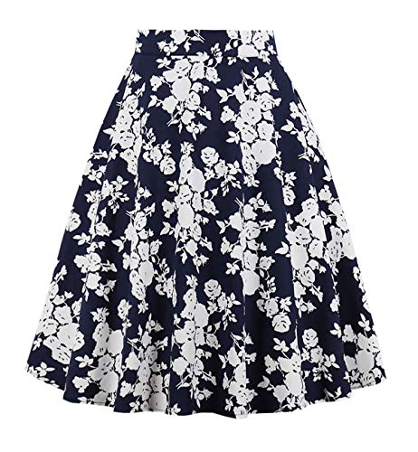 DJT Vintage Bleu 3 Femmes FASHION fleur Line Jupes Longues Imprimes mi A Florales vases frfvZRq1B