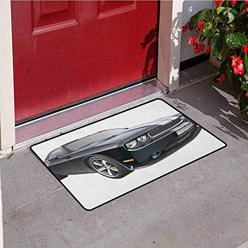 (GloriaJohnson Cars Welcome Door mat Black Modern Pony Car with White Racing Stripes Coupe Sports Dragster Print Door mat is odorless and Durable W15.7 x L23.6 Inch Black Grey)