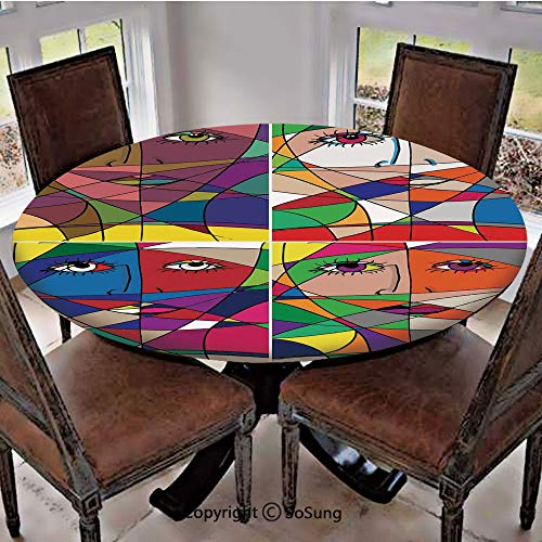 Elastic Edged Polyester Fitted Table Cover,Abstract Woman Face Illustration Behind Stained Glass Human Facial Feature,Fits up 56