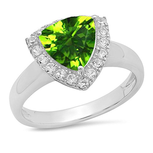 (Dazzlingrock Collection Sterling Silver Trillion Cut Peridot & Round White Sapphire Halo Bridal Engagement Ring, Size 7)