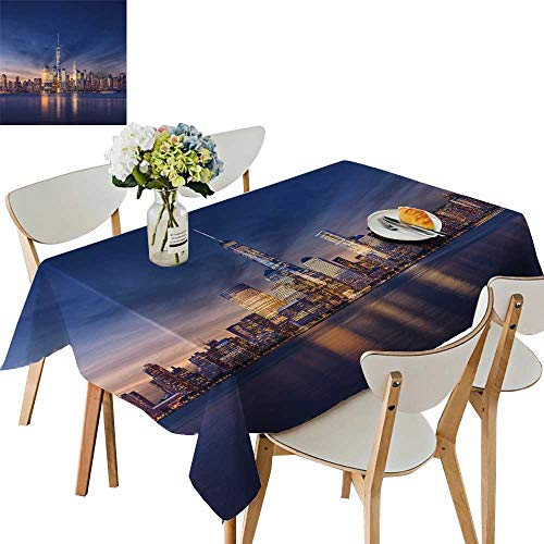 UHOO2018 Printed Fabric Tablecloth Square/Rectangle New York City After Sunset Wedding Party Restaurant,50 x 73inch ()