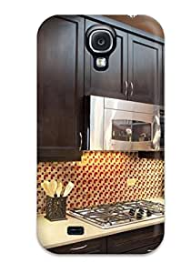 Hot Tpu Cover Case For Galaxy/ S4 Case Cover Skin - Yellow And Red Backsplash In Kitchen