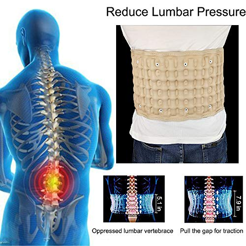 Decompression Back Belt Inflatable for Low Back Pain Relief- Adjustable Lumbar Support Traction Belt - One Size Fit 29-49 Waist