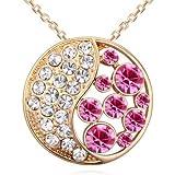 Saphira bijoux fantaisie. Pendentif doré avec chaine. collier. cristal autrichien rose . Swarovski éléments. Cercle lunaire.